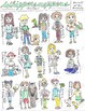 Students and Pets Clip Art: Hand Drawn and Colored PNGs, J