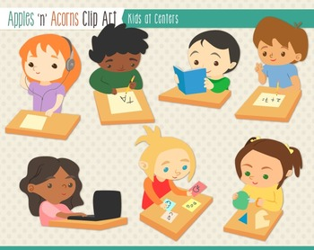 Students at Centers Clip Art - color and outlines