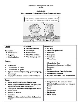 Study Guide for China, Greece, and Roman Empires