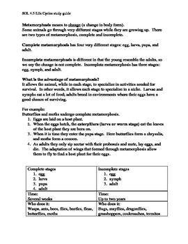 Study Guide for Life Cycles SOL 4.5