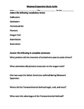 Study Guide for Westward Expansion Unit
