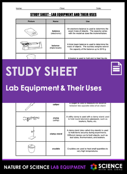 Study Sheet - Lab Equipment