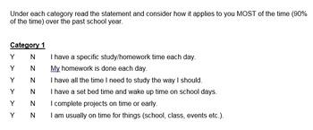 Study Skill Self Assessment