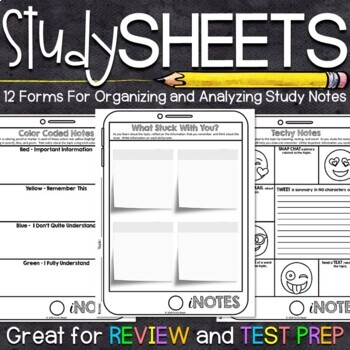 Note Taking Organizers - Great for Review and Test Prep!