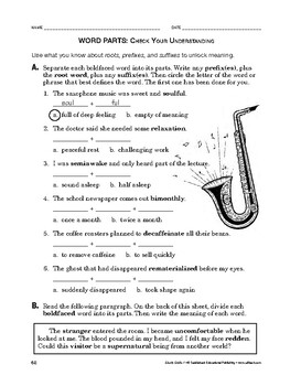 Study Skills: Word Parts: Check Your Understanding