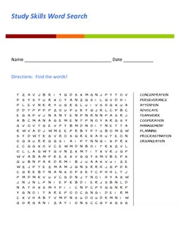 Study Skills Word Search