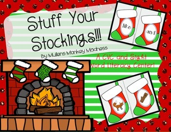 Stuff Your Stockings! CVC and Sight Word Literacy Center
