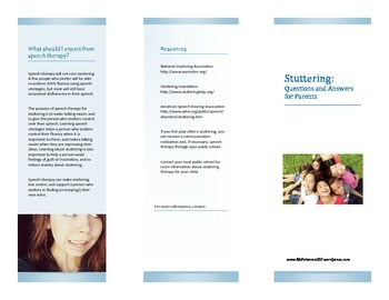 Stuttering FAQ for parents, teachers, and students: 3 BROCHURES