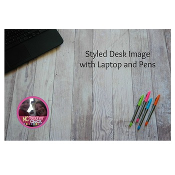 Styled Desk Image with Laptop and Pens