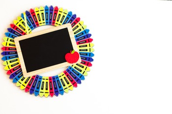 Stock Photo: Classroom Crayon Wreath & Chalkboard #2-Perso