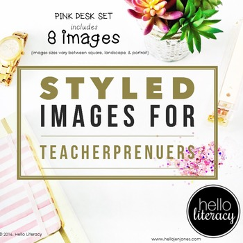 Styled Images for Teacherpreneurs: Pink Desk Set of 8-Pers