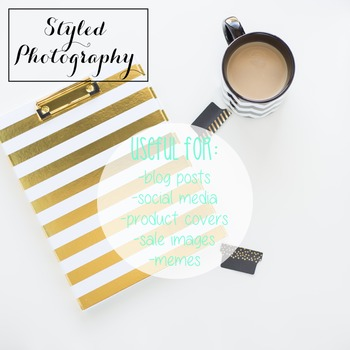 Styled Photography: Desk - black and gold set 5 (Comm Use OK)