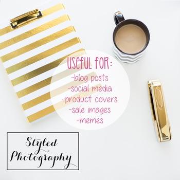 Styled Photography: Desk - black and gold set 6 (Comm Use OK)