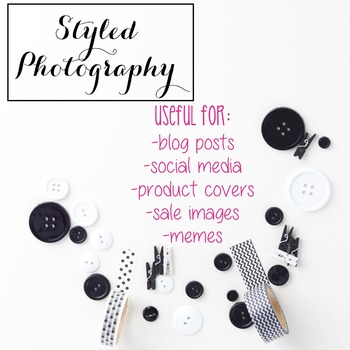 Styled Photography: Office Supplies BUNDLE - Pink/Black/Go