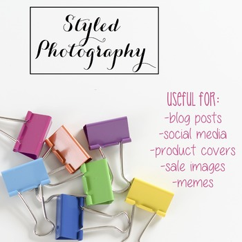 Styled Photography: Office Supplies BUNDLE - Rainbow (Comm