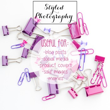 Styled Photography: Office Supplies pink and purple (Comm Use OK)