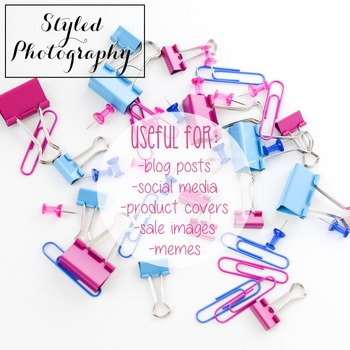 Styled Photography: Office Supplies pink and teal (Comm Use OK)