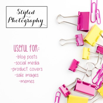 Styled Photography: Office Supplies pink and yellow (Comm Use OK)