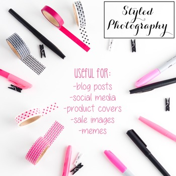 Styled Photography: Office Supplies set 2 - Pink/Black/Gol