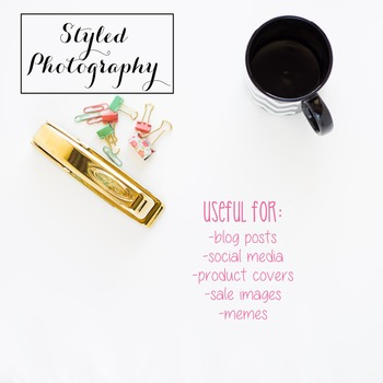 Styled Photography: Office Supplies set 3 - black/gold/min