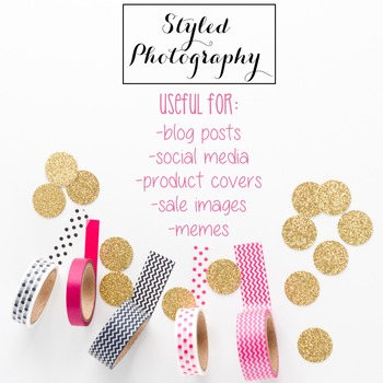 Styled Photography: Office Supplies set 4 - Pink/Black/Gol