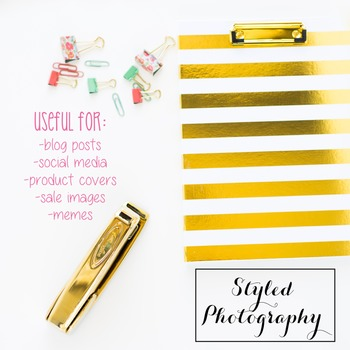 Styled Photography: Office Supplies set 4 - pink/gold/mint