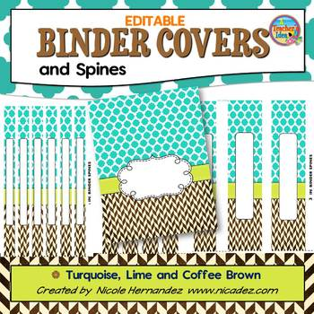 Binder Covers {EDITABLE Turquoise, Lime and Brown}