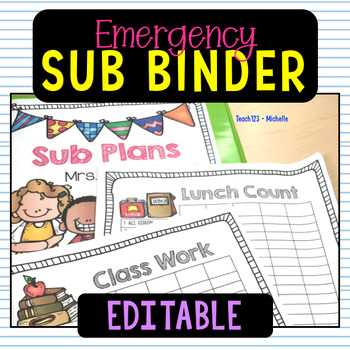 Sub Plans Kindergarten 1st Grade Editable