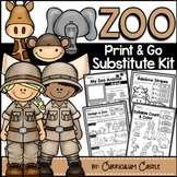 Sub Plans: Zoo Theme Math & Literacy Activities Substitute