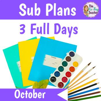 Kindergarten Sub Plans October 3 Full Days