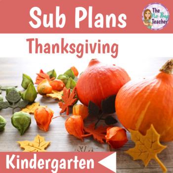 Kindergarten Full Day Sub Plans Thanksgiving