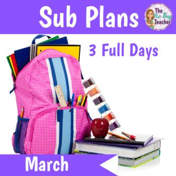 Kindergarten Sub Plans March 3 Full Days