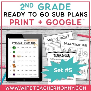 Sub Plans 2nd Grade Ready To Go for Substitute. DAY #5. No