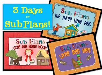 Sub Plans - 3 days of plans for primary grades!!!