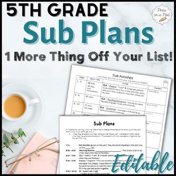 Sub Plans ~ 5th Grade Substitute Plans