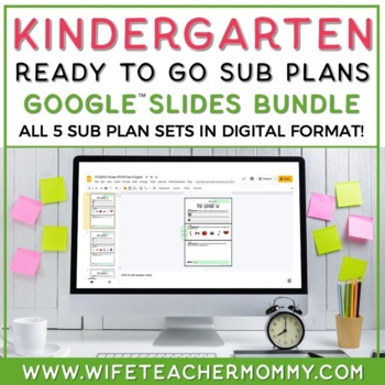 Sub Plans Kindergarten Ready To Go for Substitute. No Prep