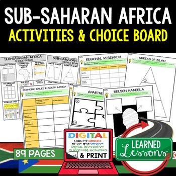 Sub Saharan Africa Choice Board Activities (Paper and Goog