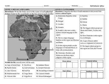 Sub-Saharan Africa (DOK) Leveled Assessment