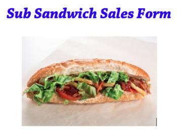 Sub Sandwich Fundraiser form