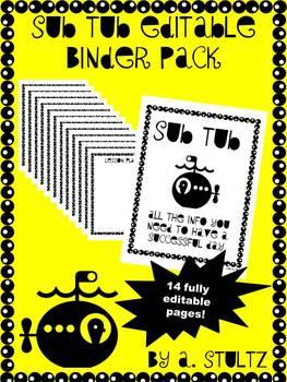 Sub Tub *Editable* Binder Pack