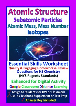 Subatomic Particles - Protons, Atomic Number - Worksheets