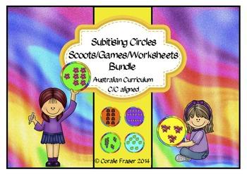 Subitising Circles/Scoots/Games/Worksheets Bundle Aust. Cu