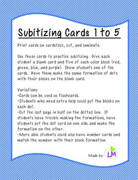 Subitizing Cards 1 to 5