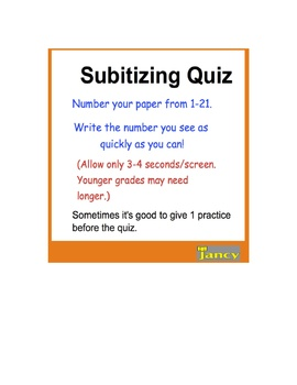 Can Your Students Subitize? Subitizing Formative Assessmen