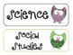 Subject Area Signs - Owls