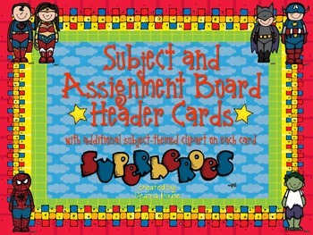 Subject / Assignment Header Cards ~ Superhero Theme With S