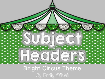 Subject Headers (Bright Circus Theme)