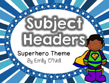 Subject Headers (Superhero Theme)