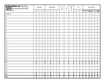 Subject Marks List Template