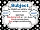 Subject & Predicate POSTERS for the Classroom: Black & Whi